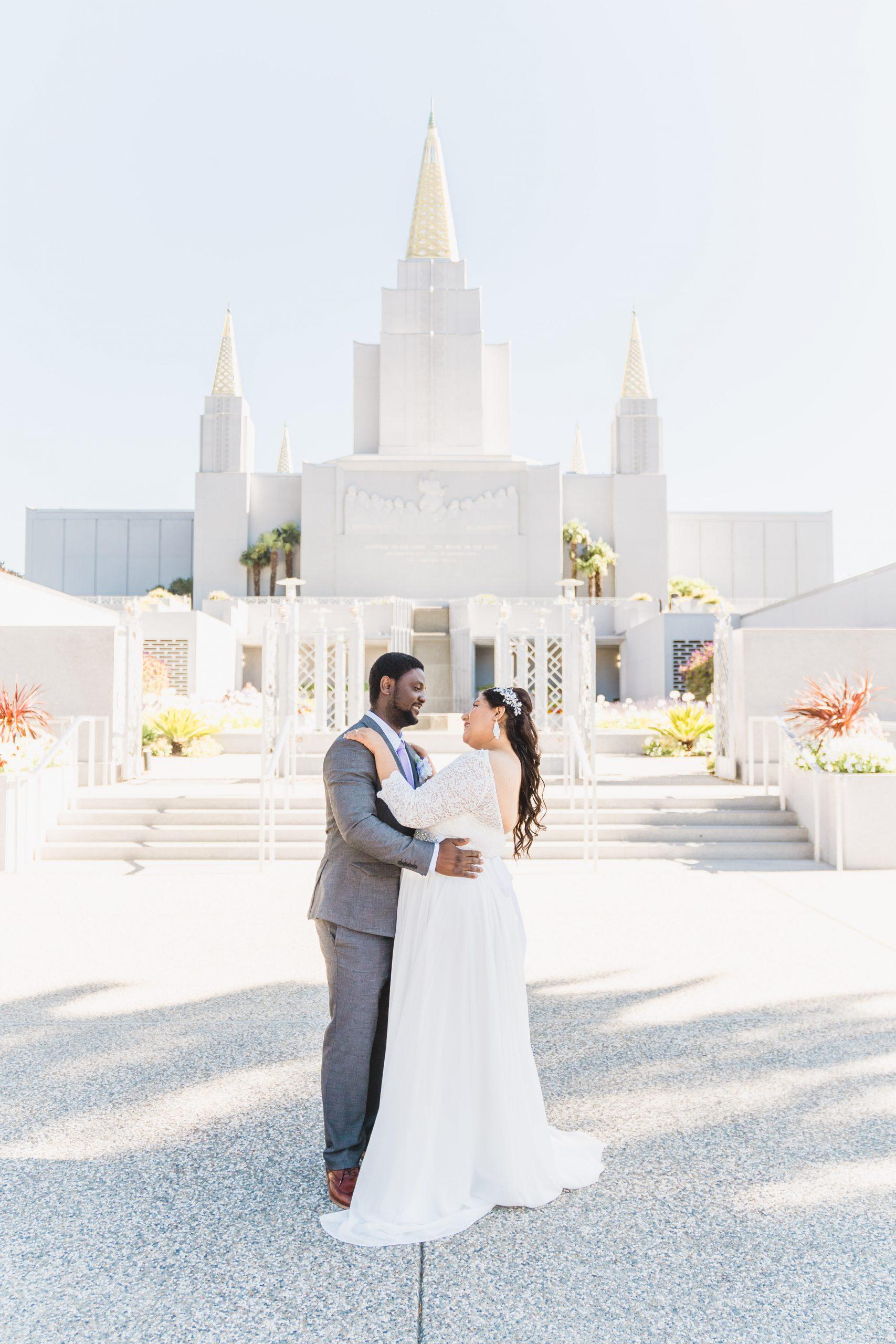 Wedding photoshoot at Oakland Temple