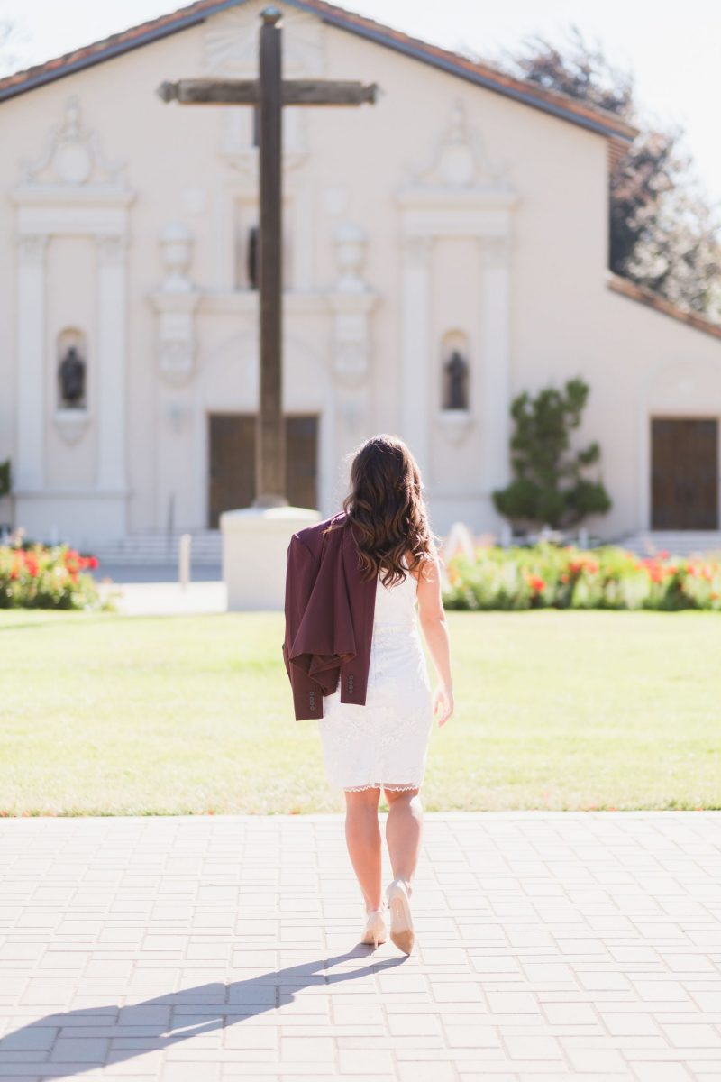 woman in front of church