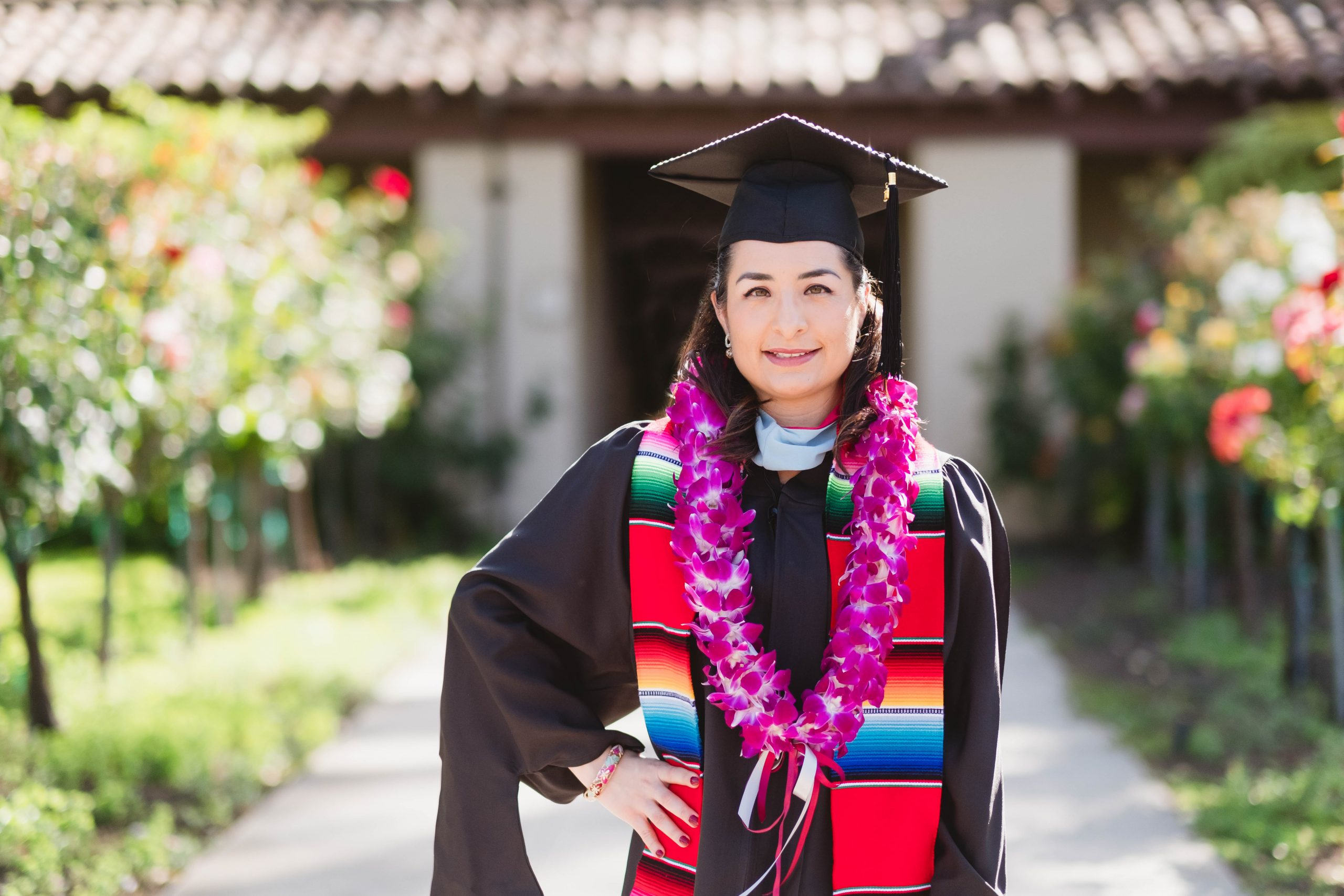 College Senior Wearing Mexican Grad Stole Outside Santa Clara University